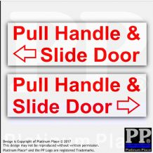 2 x Pull Handle,Slide Door Stickers-Red on White-Car,Hackney Mini Cab,Taxi Minicab Safety Signs